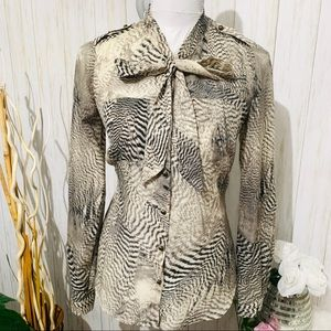Ann Taylor LOFT Blouse Zebra Animal Print Top